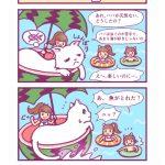 四コマ漫画「エイミーの白猫ファミリー④ しろねこ一家の海水浴」