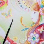 水彩絵の具の技法を使って「和装のエイミーのイラスト」を描きました。