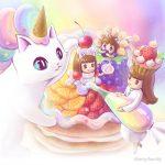 虹色クリームでデコレーションしたフルーツケーキを描く