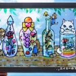 ガラス絵の具でステンドグラス風アート「ハーバリウムのガラスの瓶」