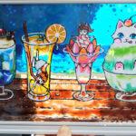 ガラス絵の具でステンドグラス風アート「ひんやりスイーツ」