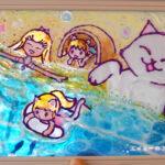 ダイソーのガラス絵の具でステンドグラス風アート「青い海辺」