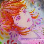 ステンドグラス風アート「真夏の少女・赤」